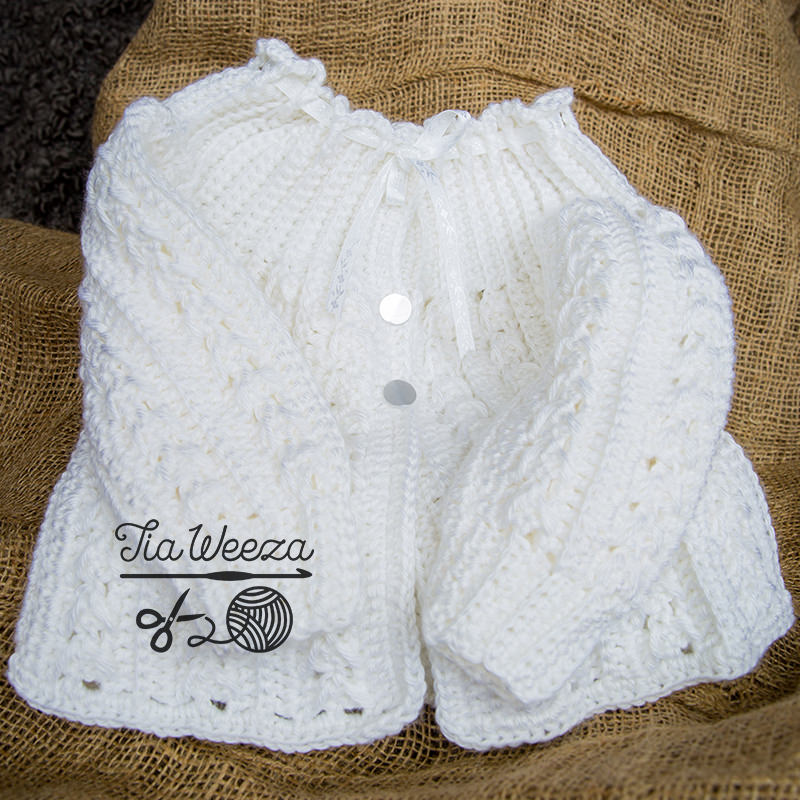 white handmade crochet sweater gender neutral, christening clothes, baptism outfits