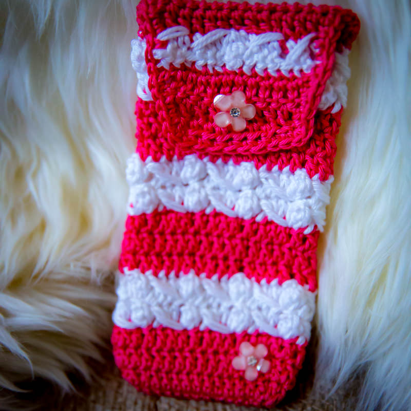 pink and white striped crocheted case for iphone or android phone