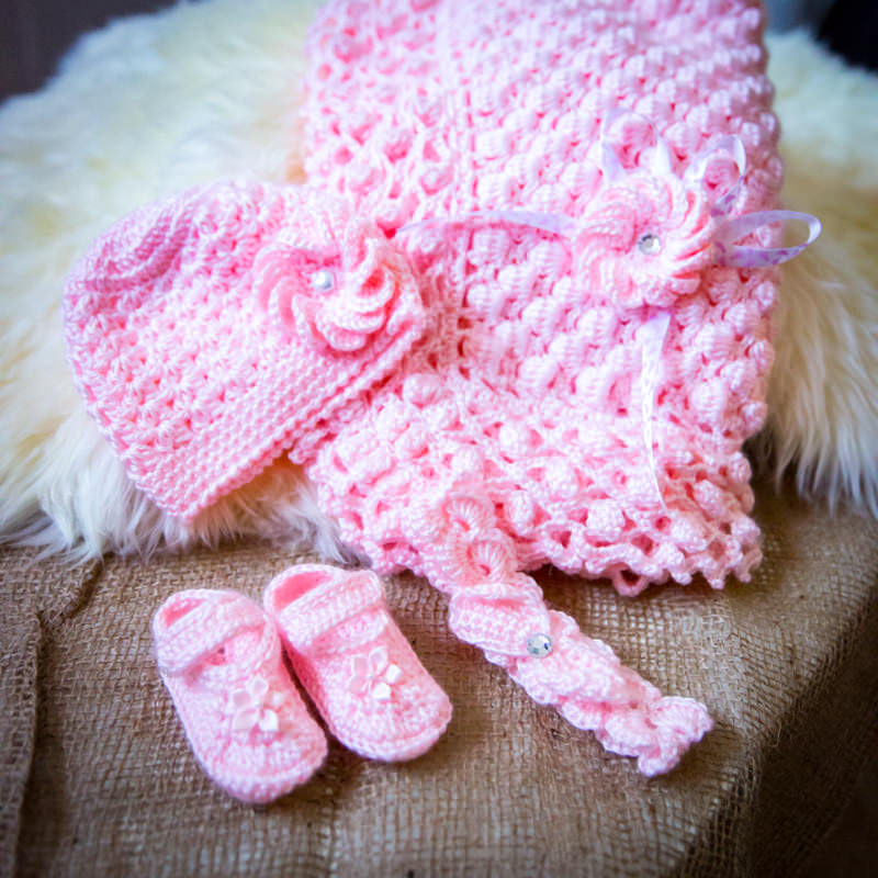 newborn baby crocheted receiving set with blank, hat and booties in pastel pink